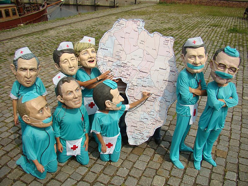 Oxfam Big Heads map out need for health workers in Africa.