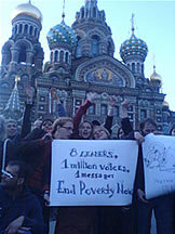June 2. A group of active volunteers in front of the cathedral in the center of St.Petersburg delivering the GCAP message to G8 leaders. Credit: Oxfam International.