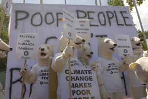 Oxfam's Polar Bears protest again for the UN Climate Change Conference to Save the Human. Photos Ng Swan Ti/Oxfam
