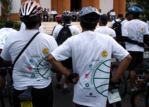 Listening to the blessing and cermony after they finished their bike 1,700km bike ride